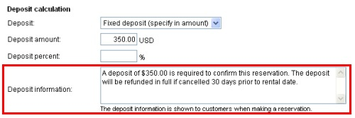 Deposit InformationSetup