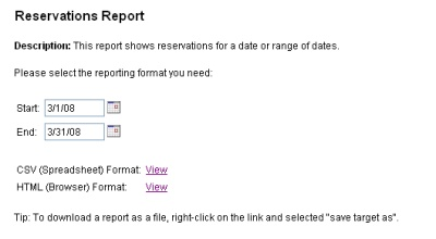 Reservations Report