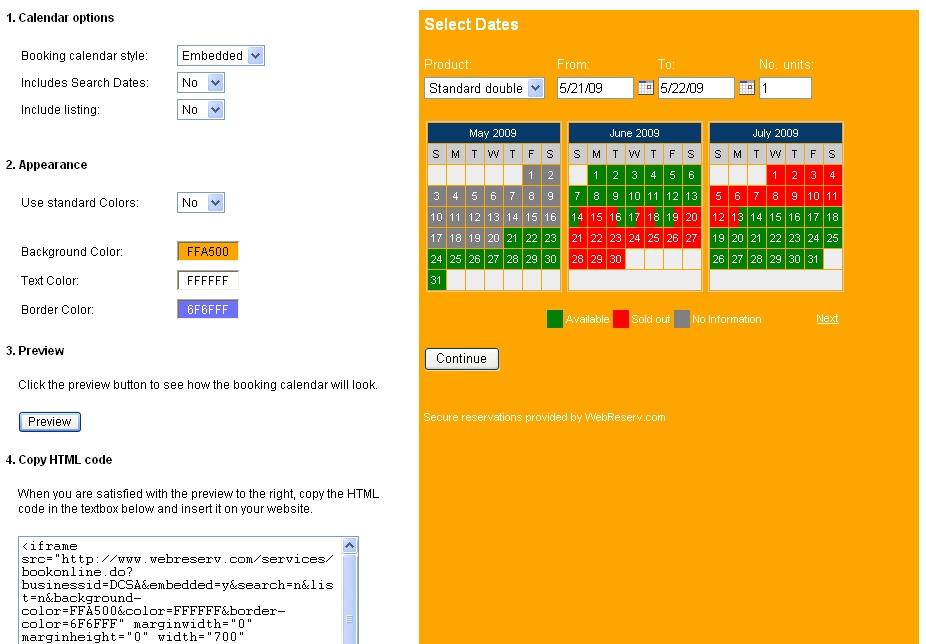 Calendar Booking : New booking calendar setup « webreserv