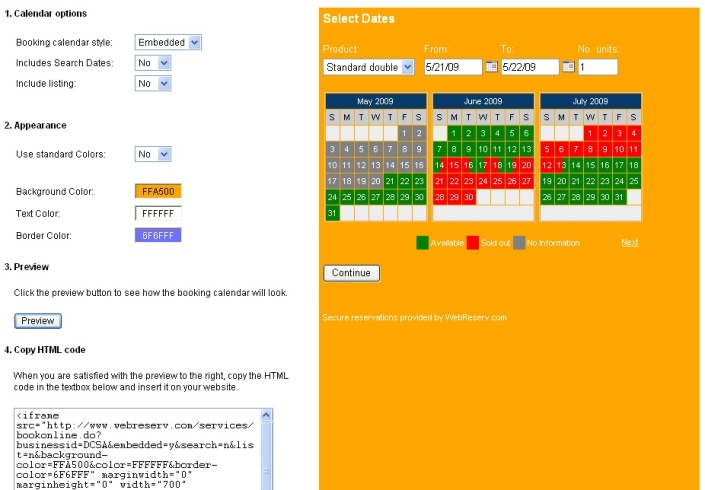 booking calendar with user colors