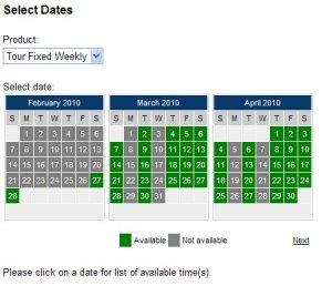 Event/Tour booking calendar