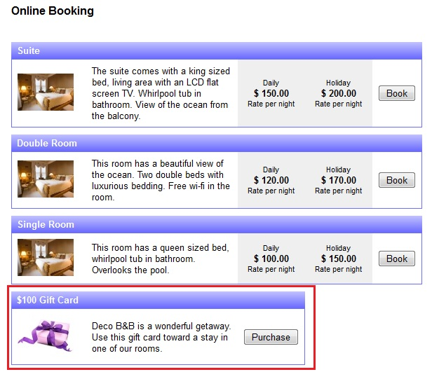 Purchase gift card through the booking calendar