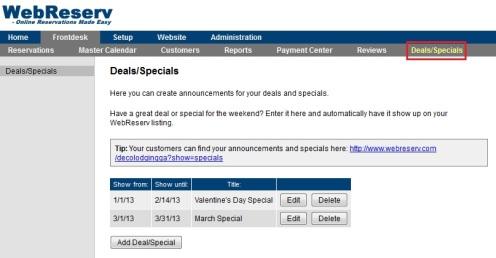 Deals and Specials