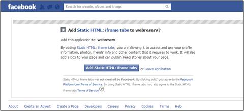how to add website to facebook app