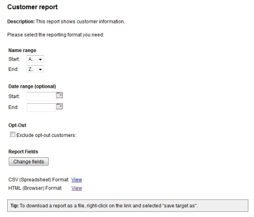 Customer Report Options