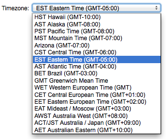 Select the correct timezone for your account