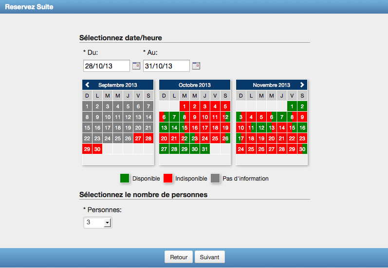 Calendar Booking : Booking calendar webreserv page
