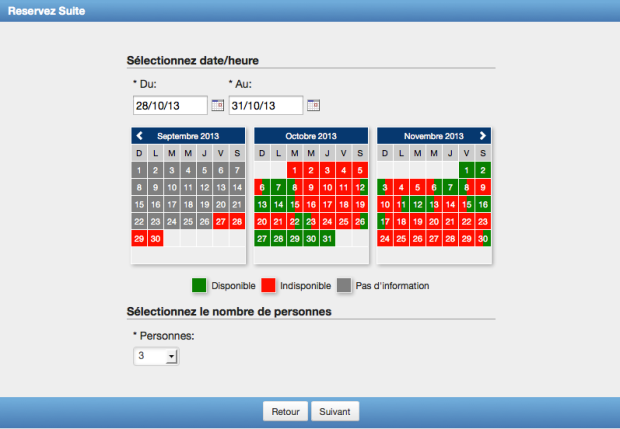 The Booking Calendar automatically selects the language
