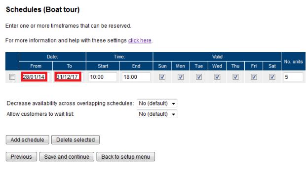 Updating schedules