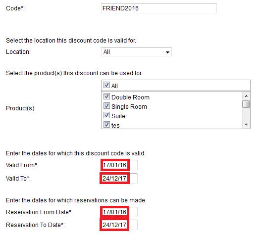 Updating discount codes